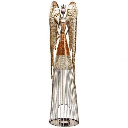 Anděl svícen plechový se srdcem, 90 cm