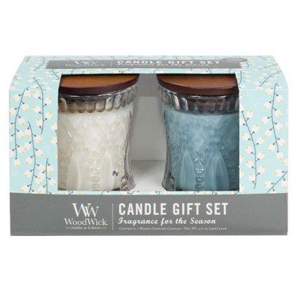 WoodWick - dárkový set White Tea Jasmine & Sea Salt 136g, 2 ks