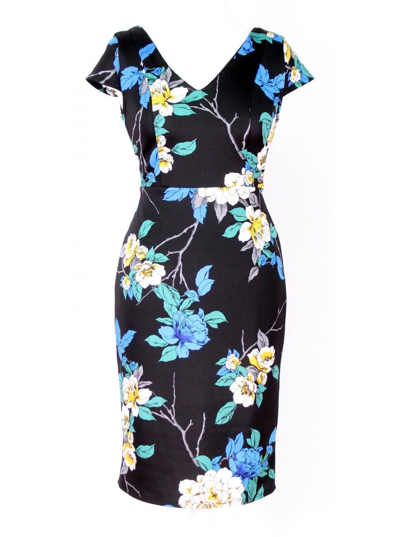 Černé šaty s květy