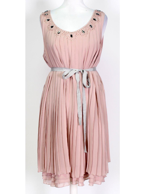 starorůžové plisované šaty
