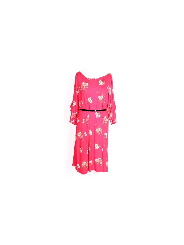 krásné červené šaty s květy