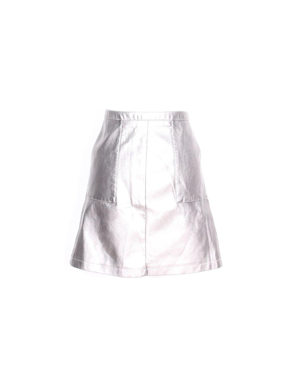 koženková stříbrná sukně s kapsami