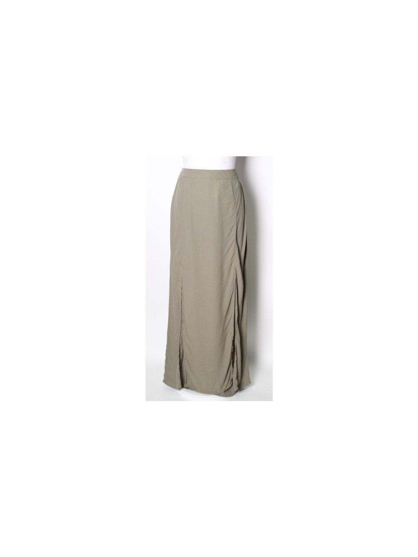 zelená maxi sukně s rozparky