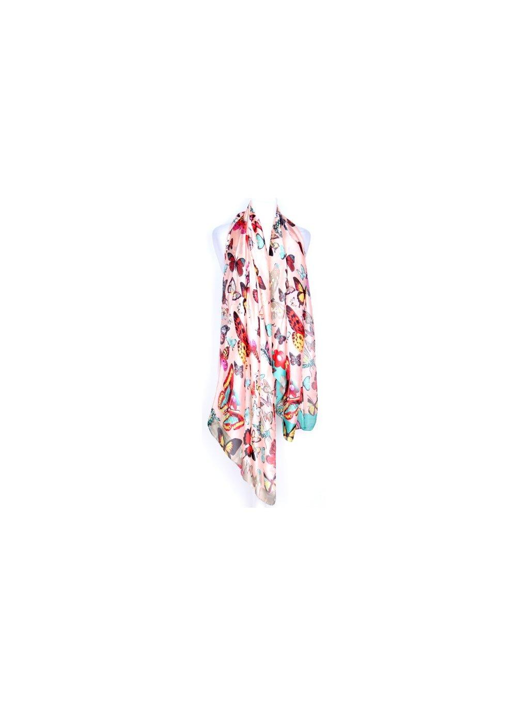 růžový šátek s motýly