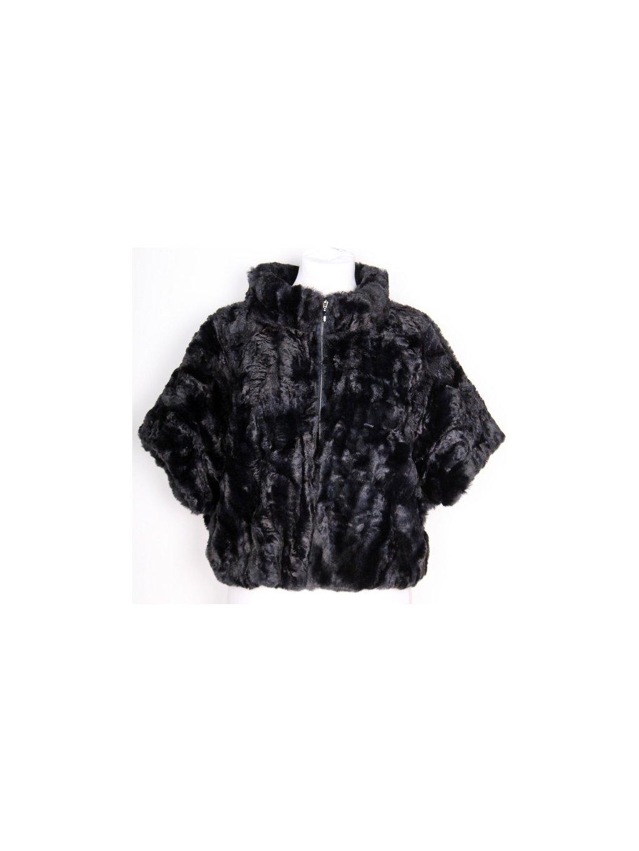 černý kožíšek s krátkým rukávem