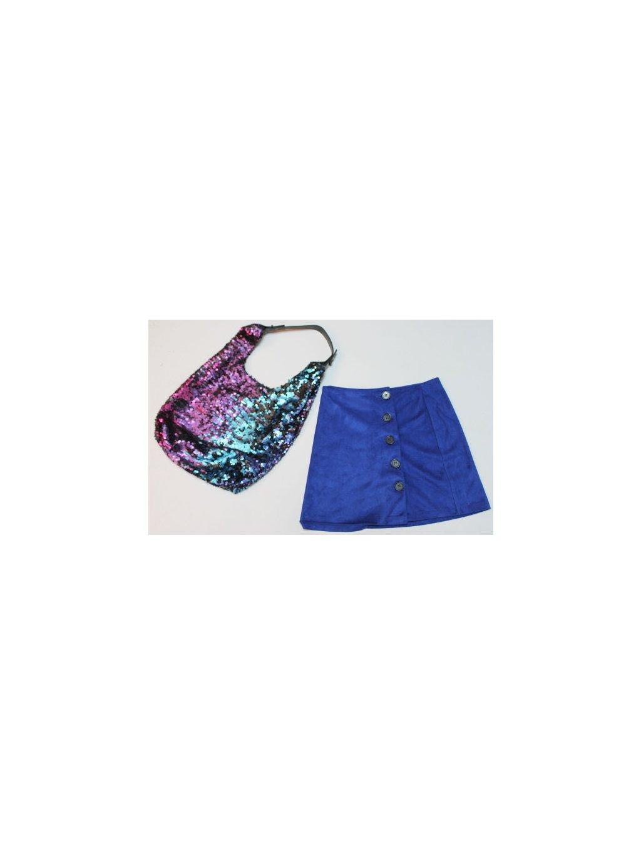 modrá sukně s knoflíky