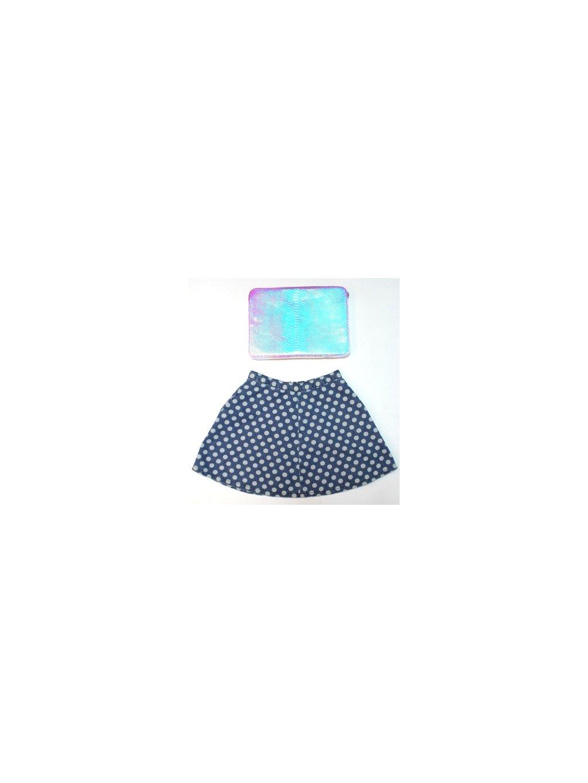 modrá puntíkovaná sukně