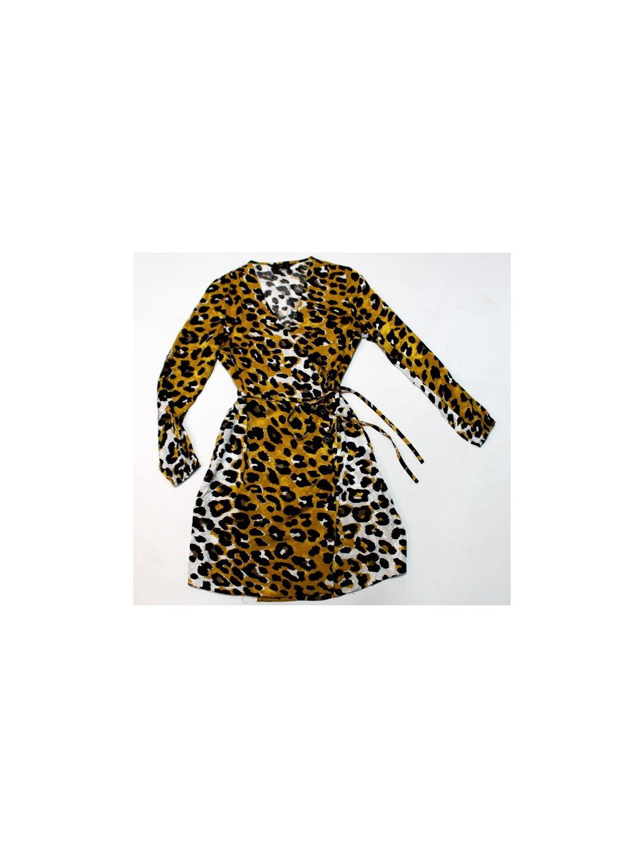žluto bílé šaty s leopardím vzorem