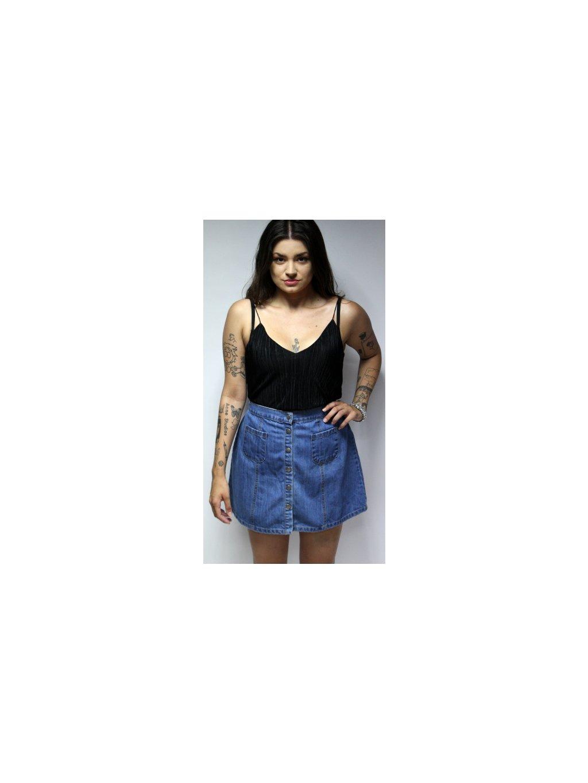 modrá džínová sukně s knoflíky