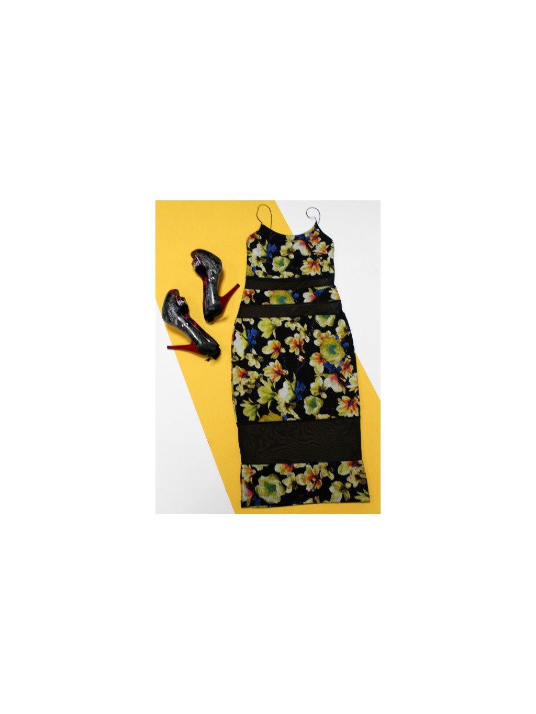 černé šaty s květy a průstřihy