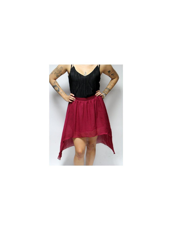 vínová asymetrická sukně