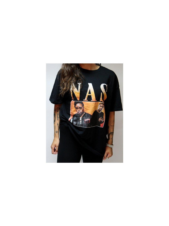 černé tričko s raperem Nasem