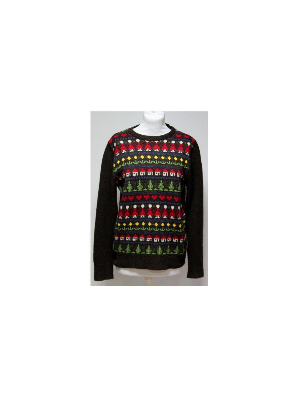 hnědý svetr s barevnými vzory