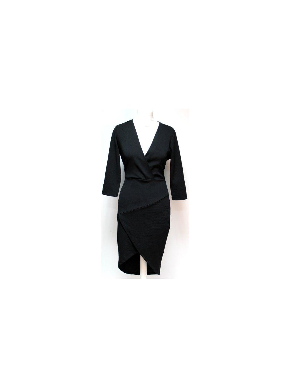 černé basic šaty s výstřihem