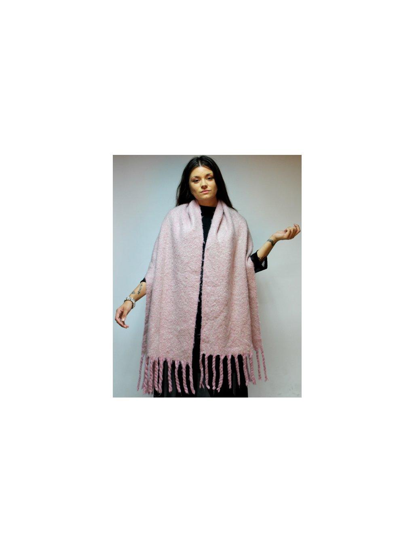 příjemná huňatá růžová šála