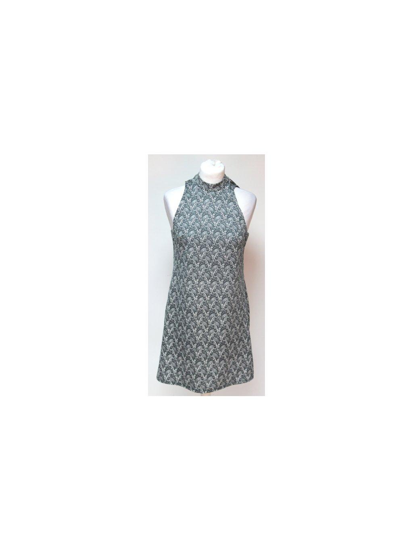 šedé retro šaty s originálním vzorem
