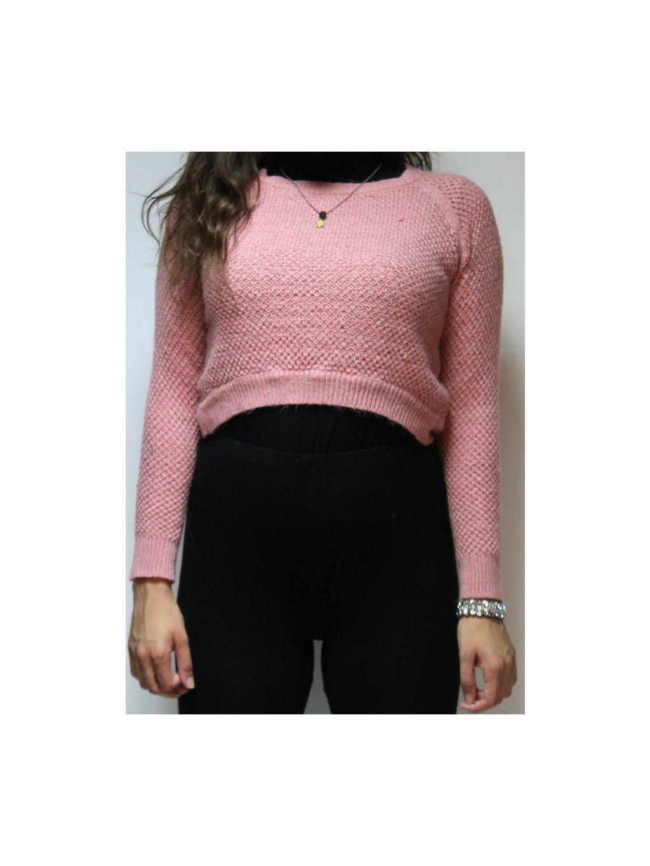 růžový crop svetr