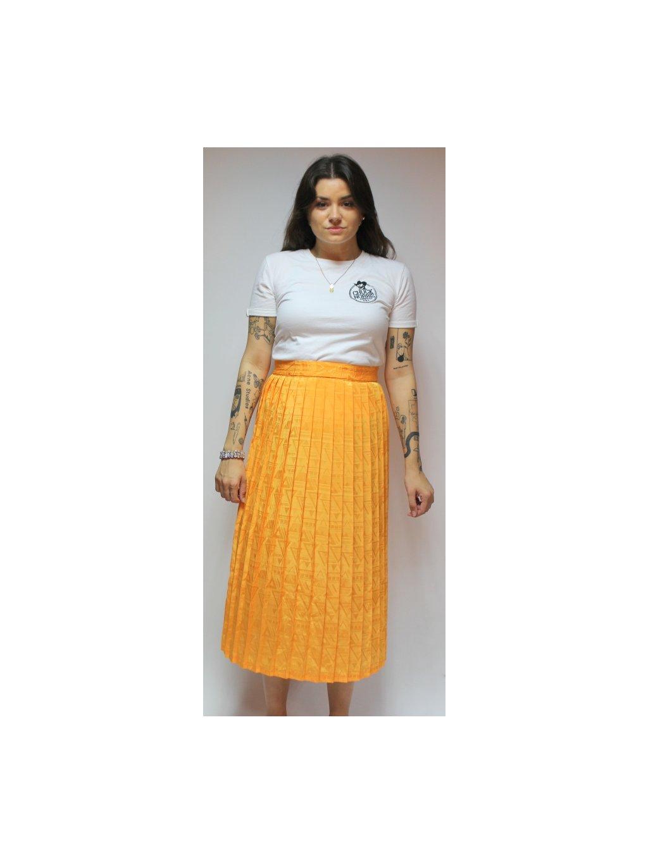oranžová skládaná sukně