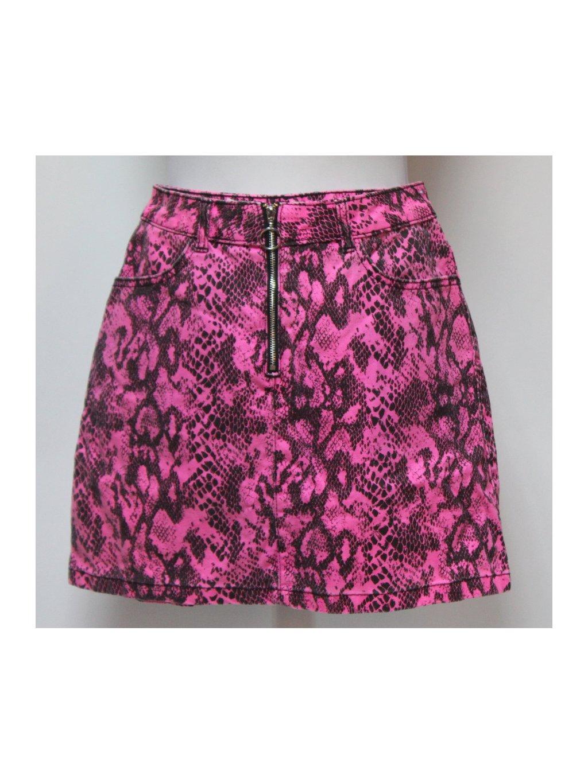 Růžová sukně s hadím vzorem