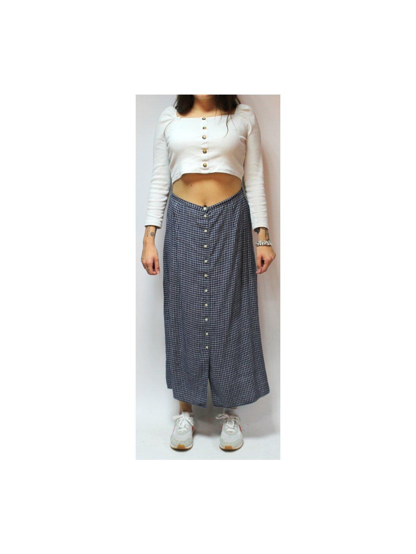 károvaná sukně s knoflíky