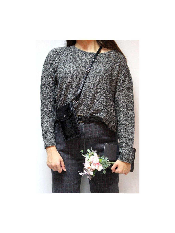 černo bílý melírovaný svetr