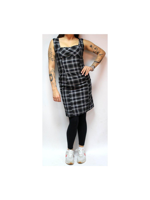 černé kárované retro šaty
