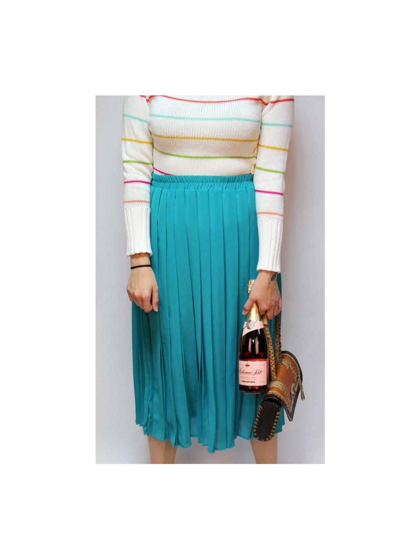 zelená skládaná sukně
