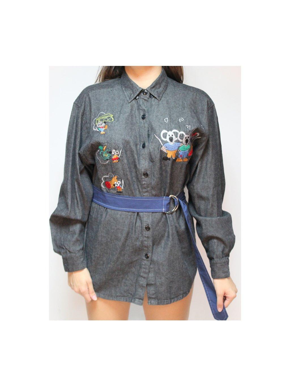 šedivá pánská vintage košile s výšivkou