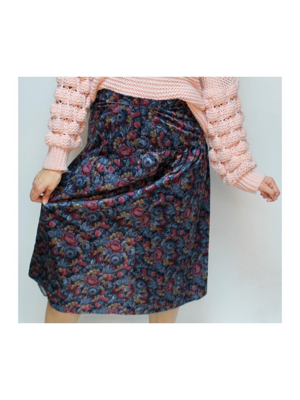 vintage midi sukně s květy