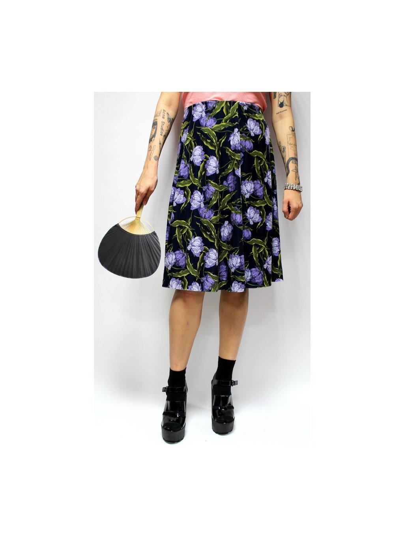sametová sukně na gumu v pase