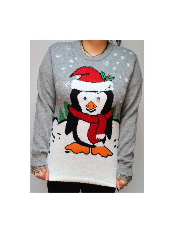 šedý vánoční svetr s tučňákem
