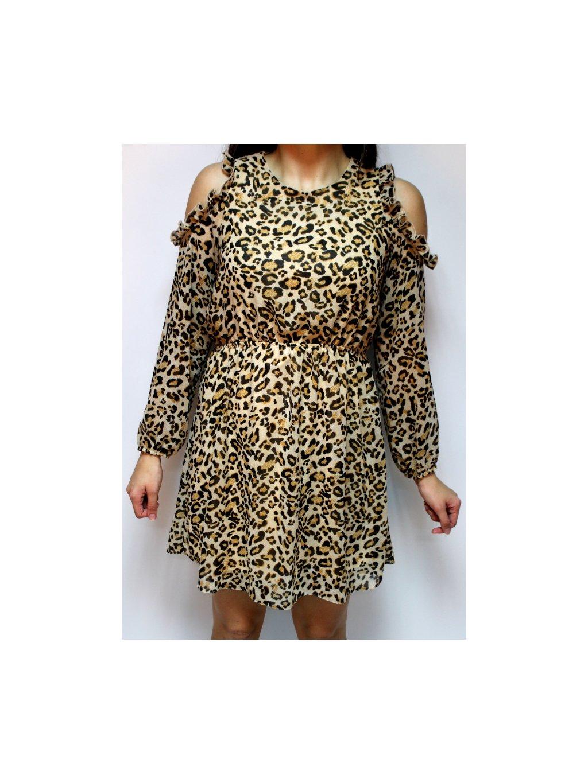 hnědé šaty s leopardím vzorem