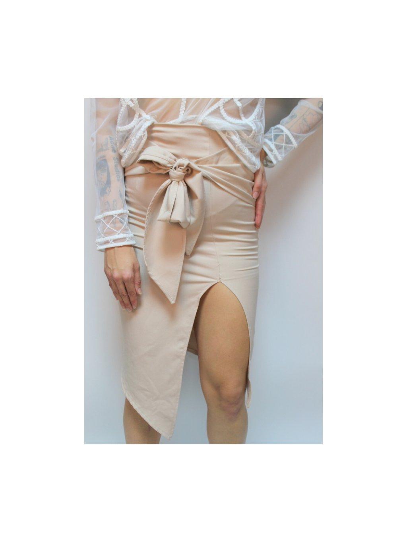 krémová sukně se zavazovací mašlí v pase