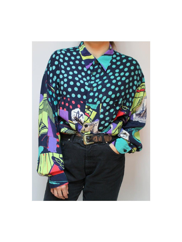 vintage barevná košile