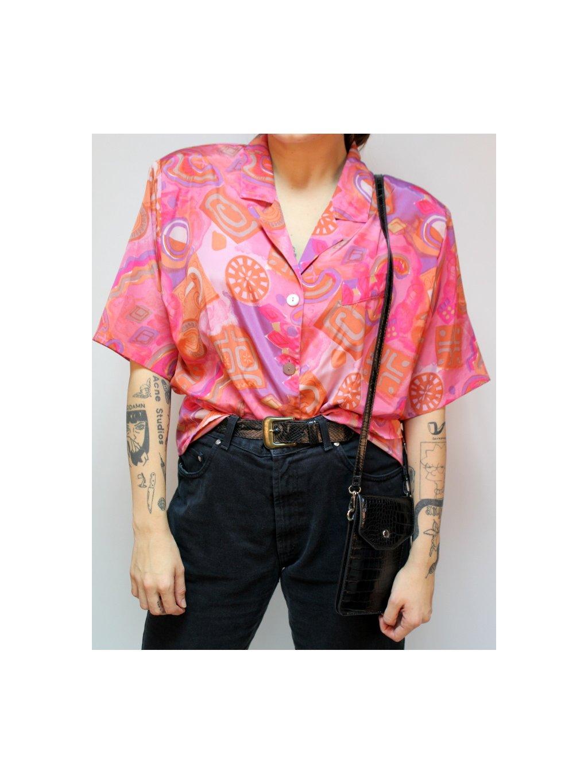 růžová vintage halenka s vycpávkami na ramenou