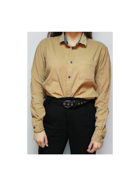 camel manšestrová vintage košile