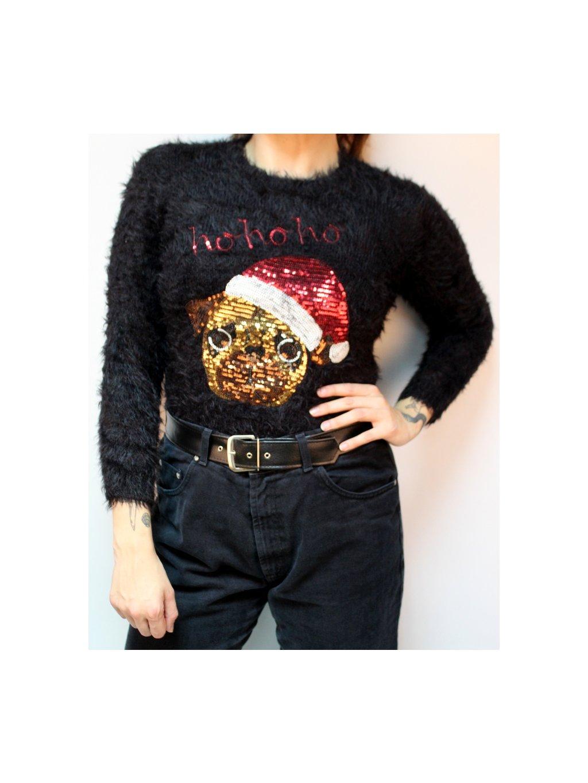 Vánoční chlupaťoučký svetr s mopsíkem