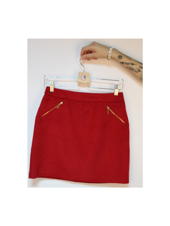 fialová károvaná sukně s kapsami