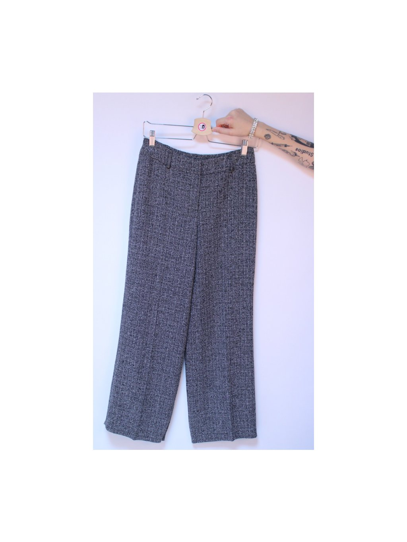 šedé žíhané office plandavé kalhoty
