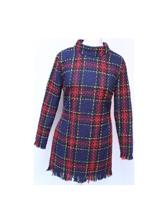 zimní teplé tartan šaty