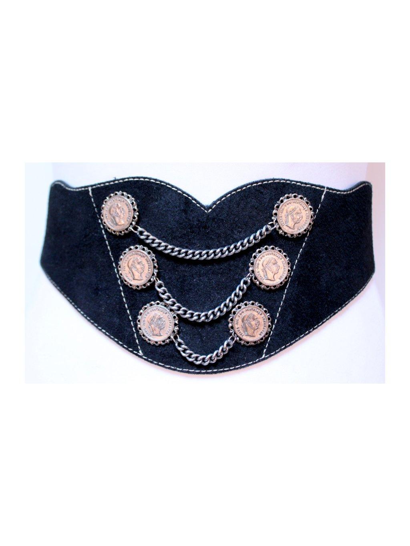 černý kožený pásek s řetízky