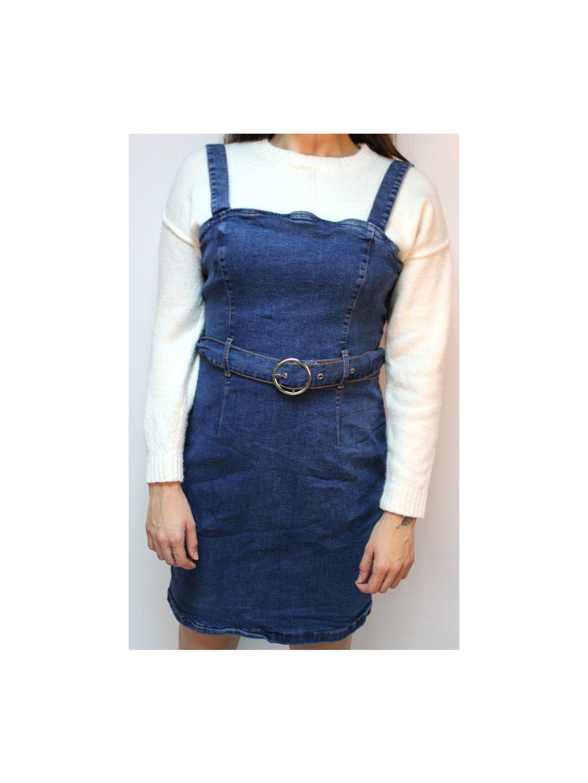 džínové šaty s páskem