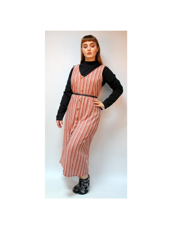 cihlové maxi šaty