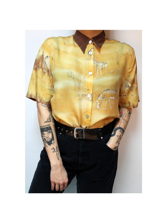 vintage žlutá košile se zebrami