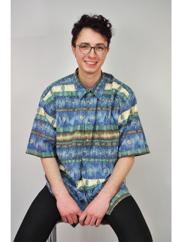 modrá vzorovaná vintage košile