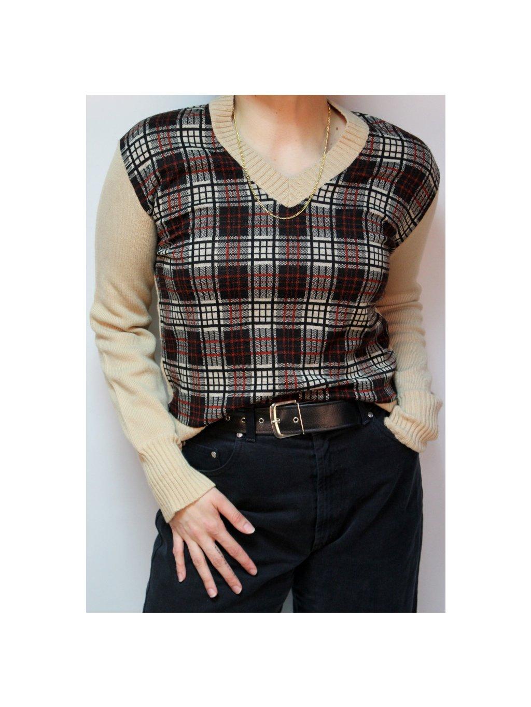 krémový károvaný vintage svetr