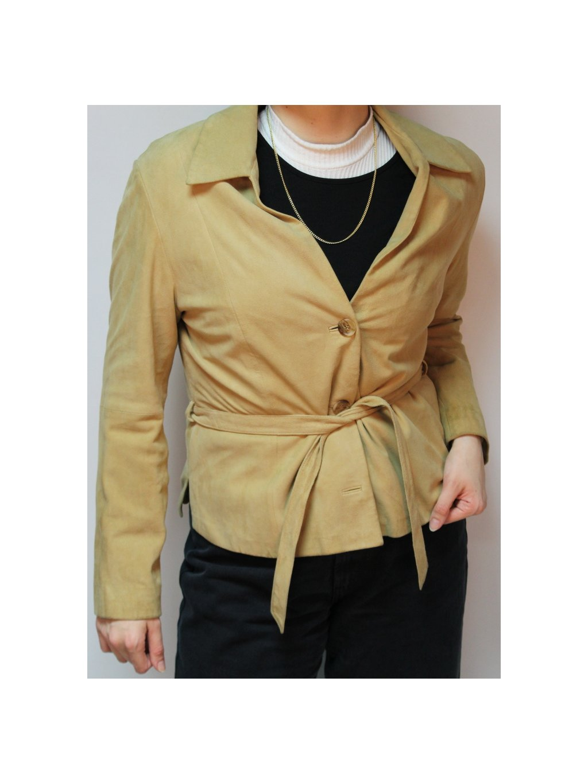 kožený jarní camel vintage kabátek s páskem