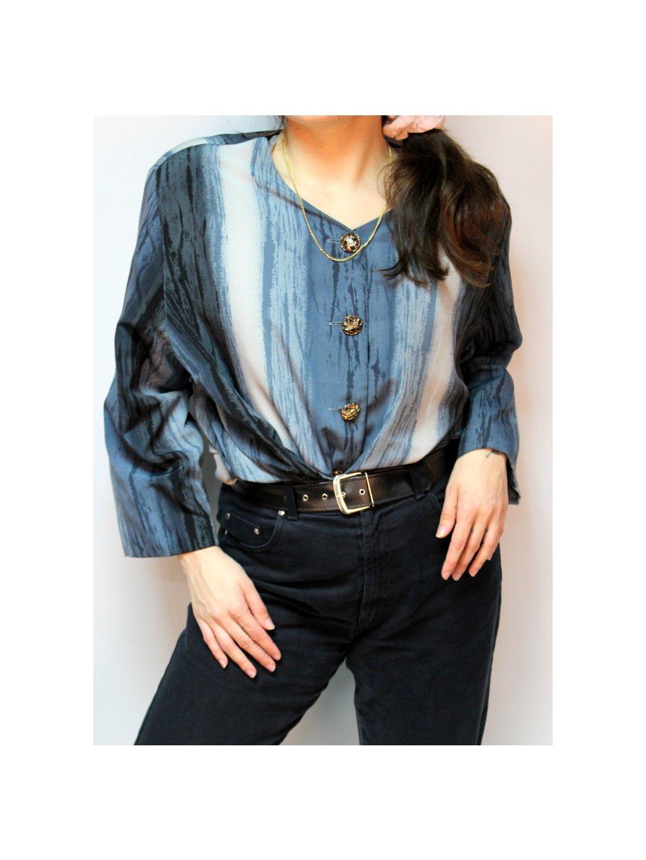 modrá vintage košile se zlatými knoflíky
