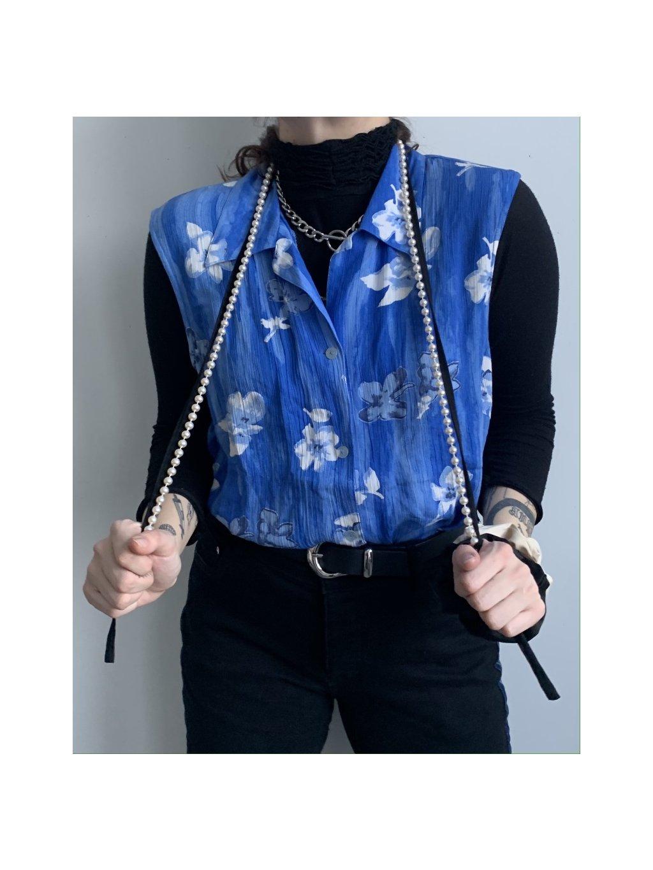 lehká modrá vintage vesta s květy