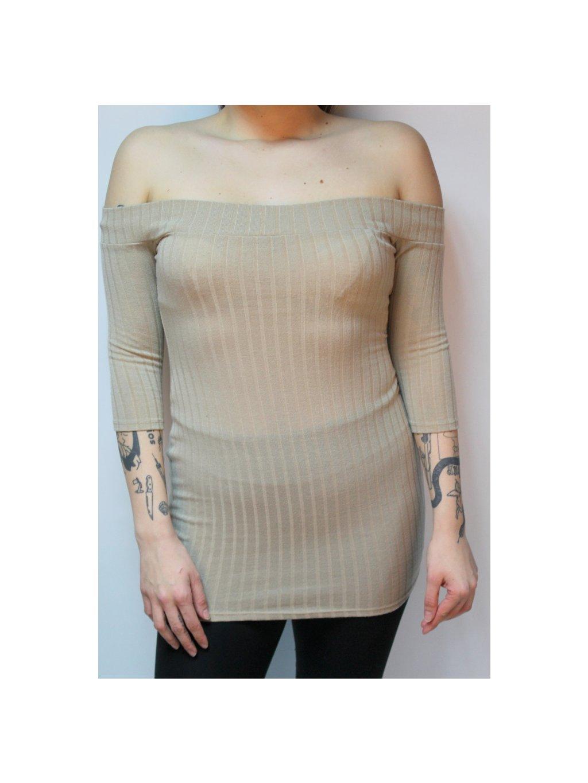 béžové svetrové šaty